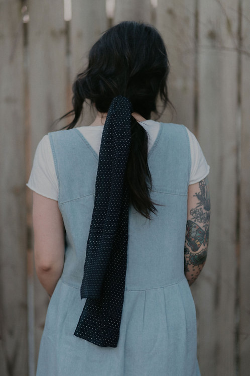 Navy and cream Polka Dot Scarf