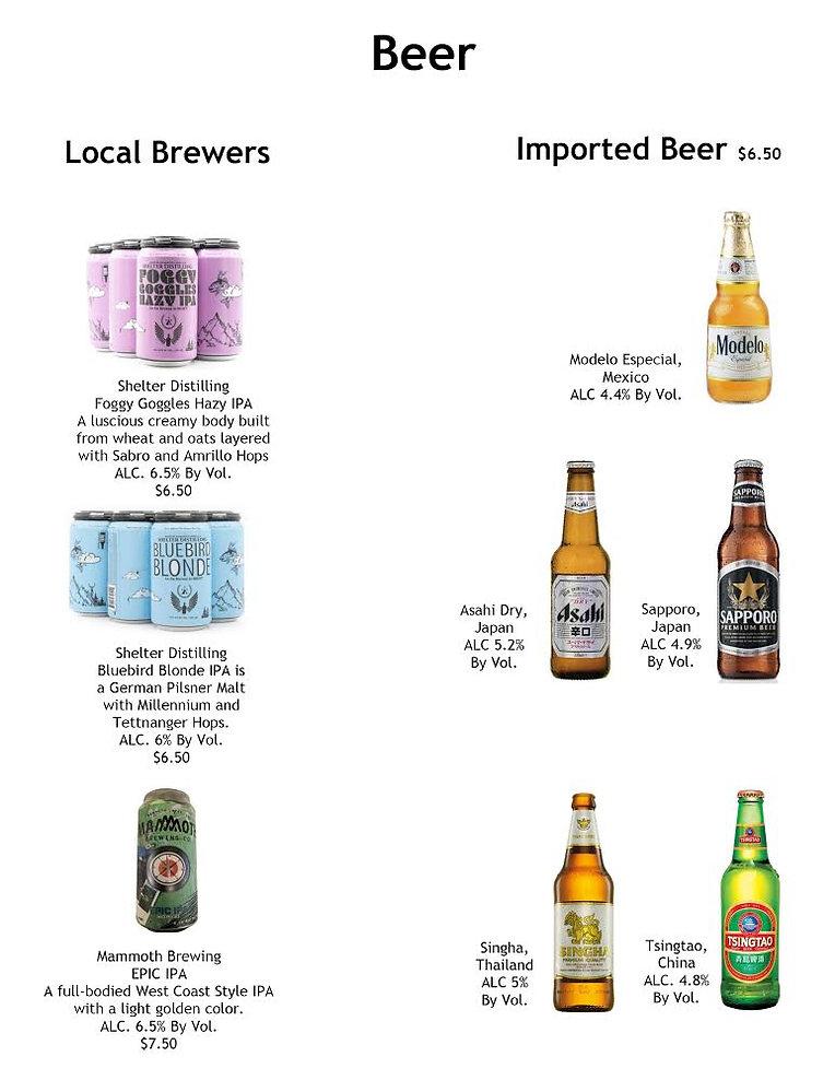 Picture of beer menu