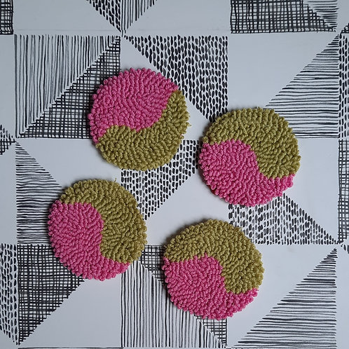 Round Coasters (pink and green)
