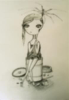 pencil drawing of a broken girl