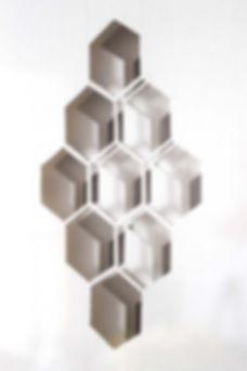 Honeycomb pattern papercut artwork