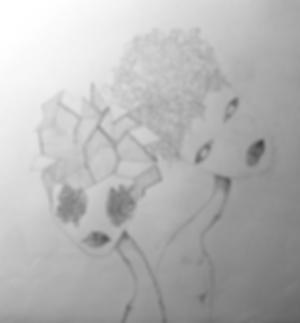 pencil drawing of two alien women by laura walker