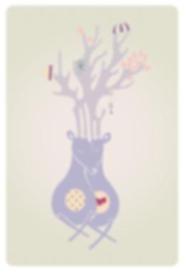 digital illustration of two deer in love by laura walker