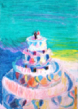 oil pastel study of a wedding cake