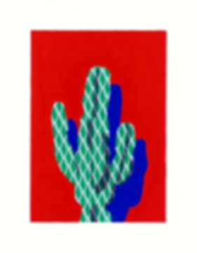 Acrylic painting of a geomatric patterned cactus on a red background by laura walker