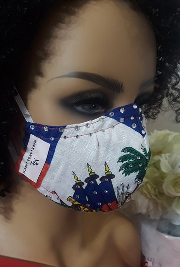 Haitian Flag Face Cover With Crystal Glass