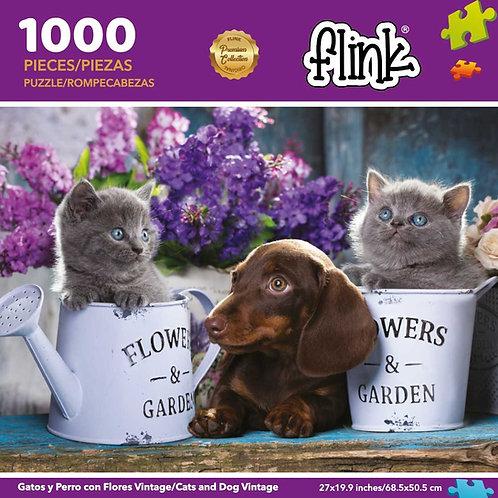 Gatos y perro con flores vintage