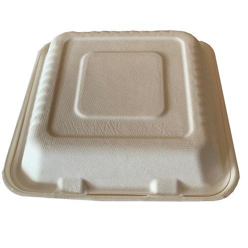 Envase compostable tipo clamshell contendor 50 pzas