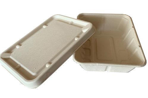 Caja con tapa contendor compostable 50pzas