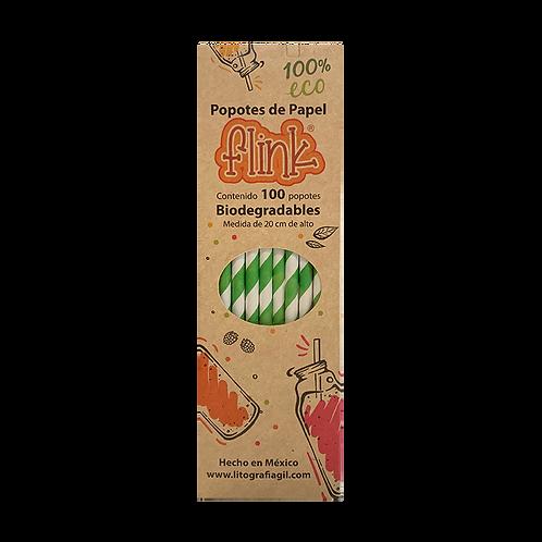 Popotes Papel Verde 100 pzs