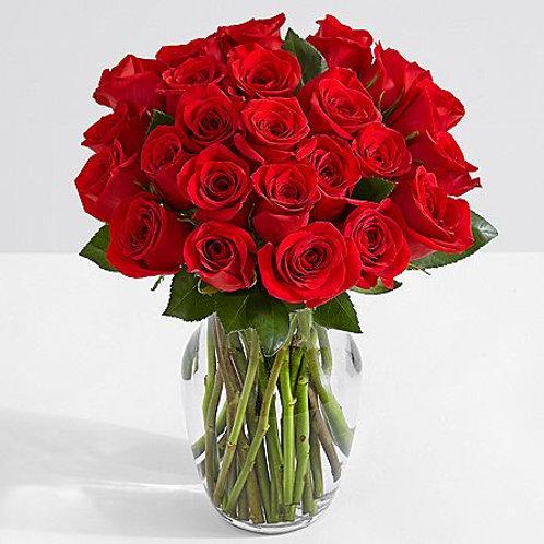 Two Dozen Red Roses w/Glass Ginger Vase