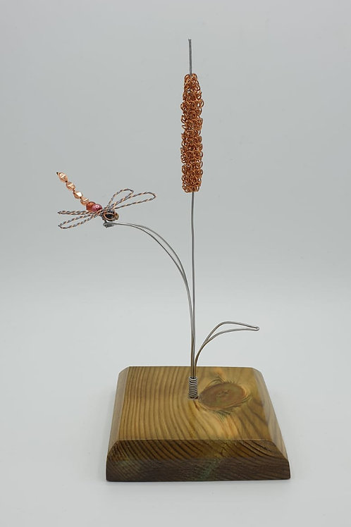 Handmade Stainless Steel Bullrush and Dragonfly Ornament sculpture no Fairy