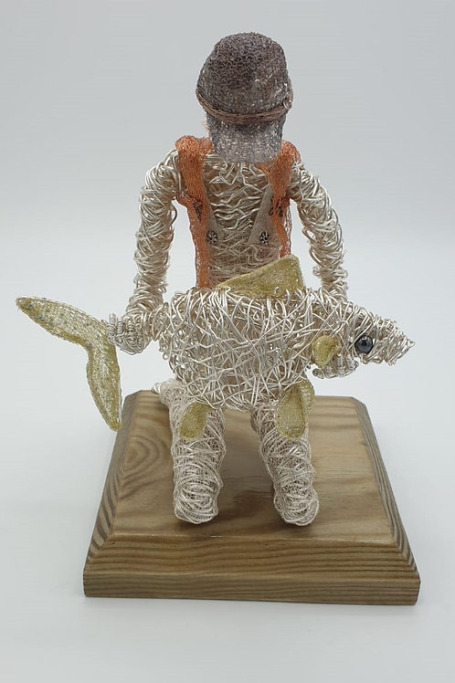 Just Fishin' - Avebury Faerie Carp Wire Sculpture Ornament