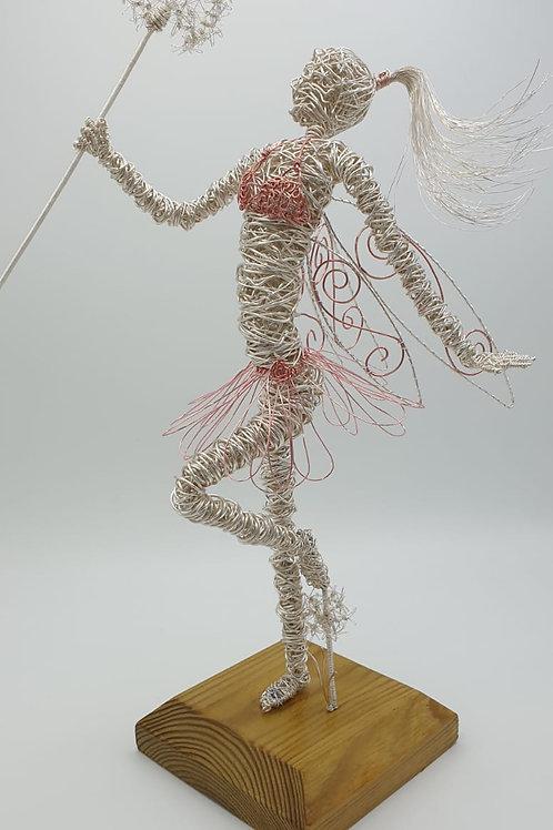Fleur - Handmade Faerie with Dandelion Wire sculpture Ornament