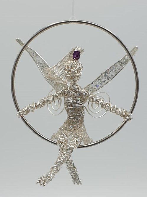 Handmade hanging Wire Fairy sculpture window ornament