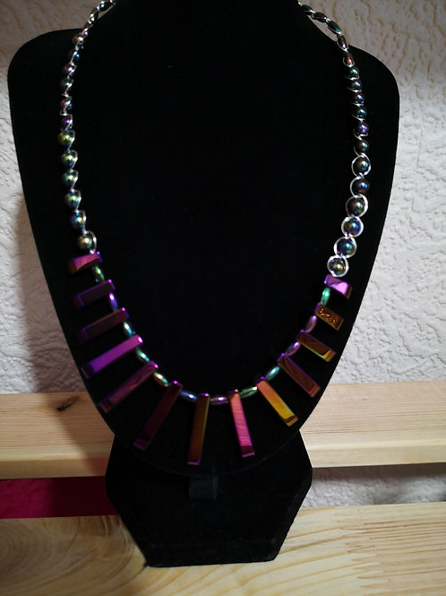 Silver Plated wire wrapped Egyptian Collar Necklet Hematite