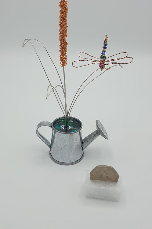 Unusual Ornament Handmade Bullrush and Dragonfly in a watering can
