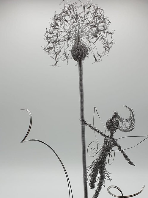 Stainless Steel Dandelion and Fairy Garden Art Ornament