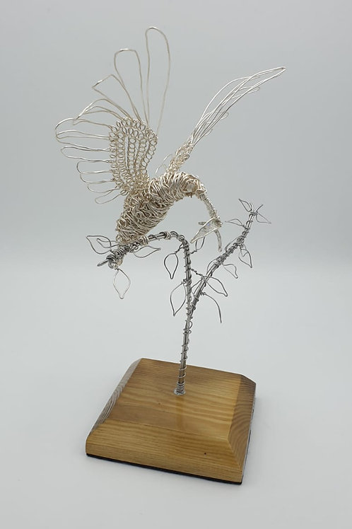 Handmade Stainless steel and silver plated bird with fish sculpture ornament