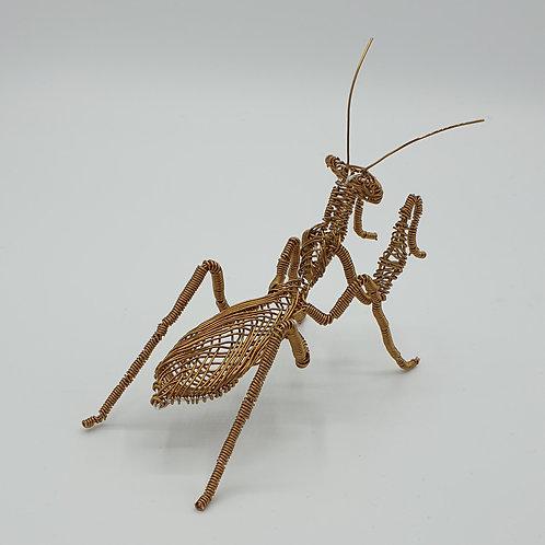 SOLD - Antique Bronze Wire Praying Mantis Sculpture Ornament