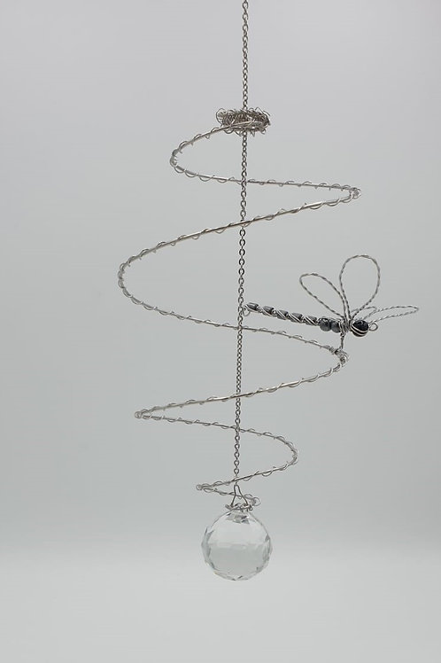 Handmade stainless steel spiral and dragonfly hanging suncatcher