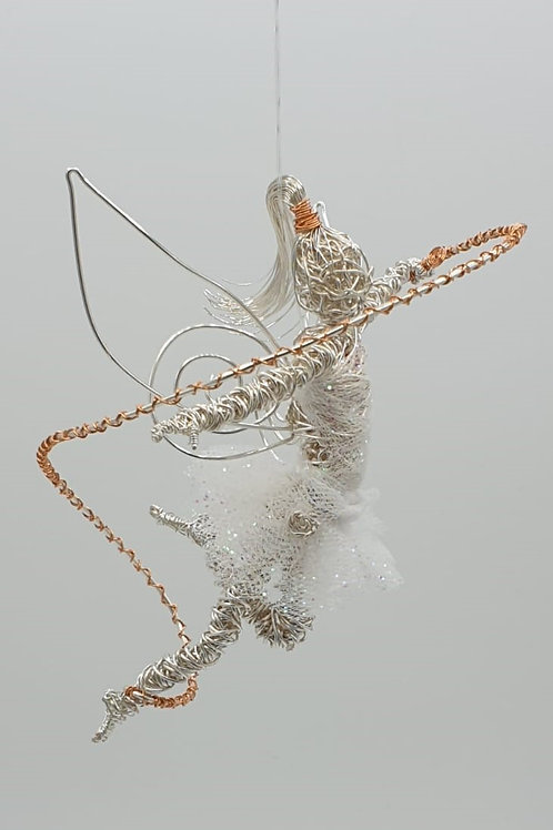 Handmade Wire Fairy Dancer sculpture ornament