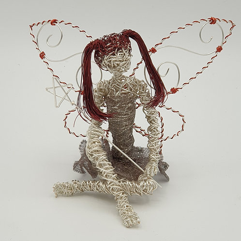 Lou - SOLD - Handmade Silver Plated Wire Fairy Sculpture Ornament