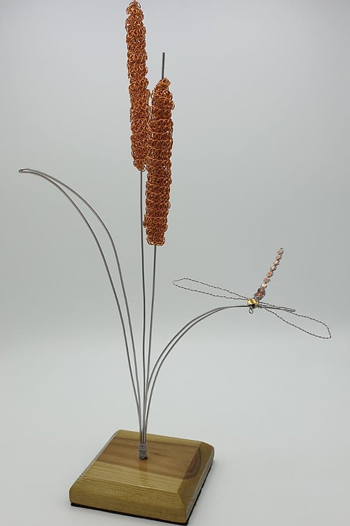 Handmade Stainless Steel Bullrush and Dragonfly Ornament sculpture
