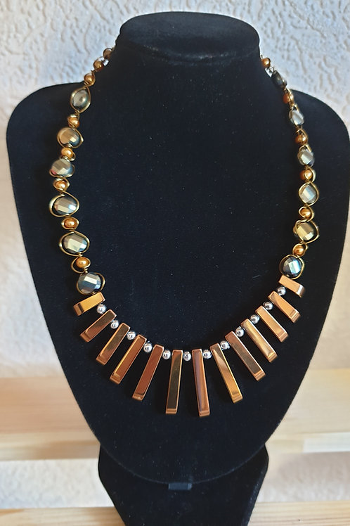 Antique Gold wire wrapped Egyptian Collar Necklet