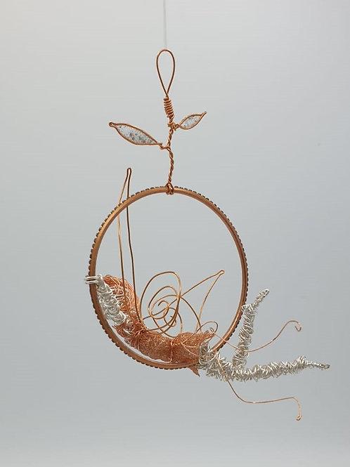 Handmade hanging Wire Fairy sculpture window ornament