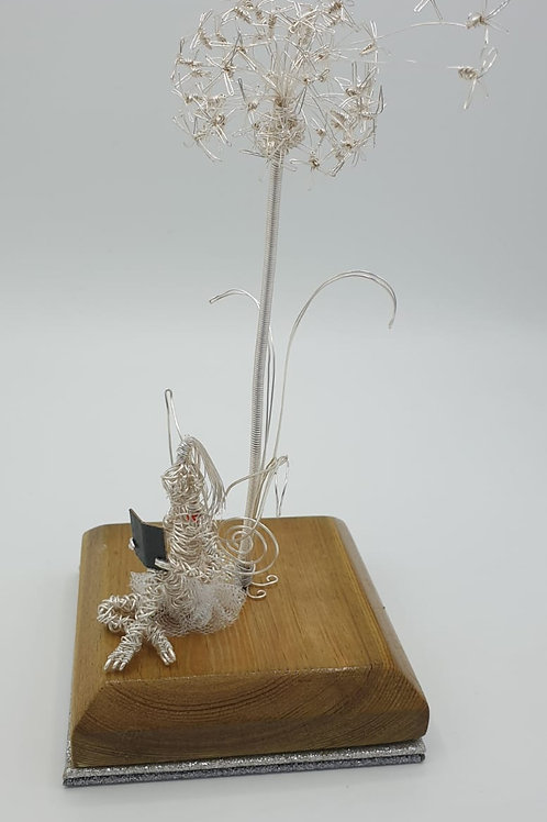 Dandelion and Faerie Wire Sculpture Handmade Ornament Military