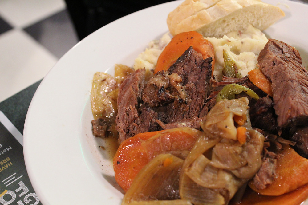 Pot Roast over Mashed Potatoes