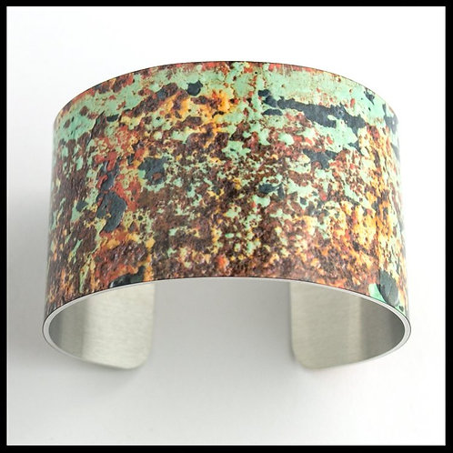 Green & Rust Wide Cuff Bracelet