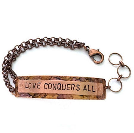 Love Conquers All Green Marble Copper Bracelet