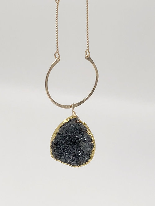 14K Gold Fill/Sterling Silver Druzy and Rough Diamond Necklace