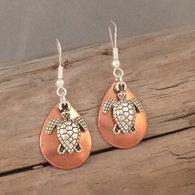 Turtle Charm on Copper Earrings