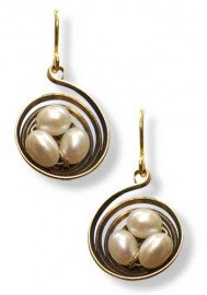 Nest Circular Brass with Pearls Earrings