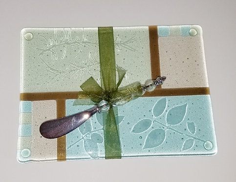 Watercolor Cheese Plate/w Spreader