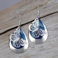 Deep Blue Sparkle Butterfly Earrings