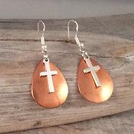 Copper Earrings with Cross