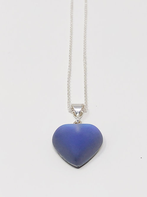Small Frosted Violet Heart Pendant