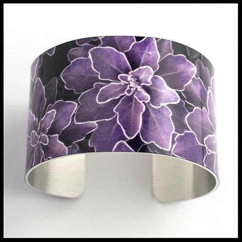 Purple Plant Wide Cuff Bracelet
