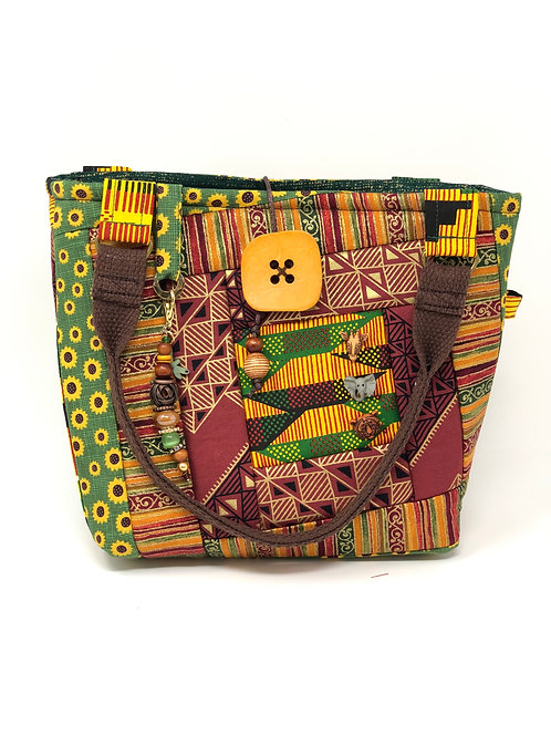 African Print Quilted Handbag