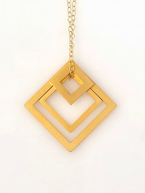 18K Gold Plated Nesting Square Necklace