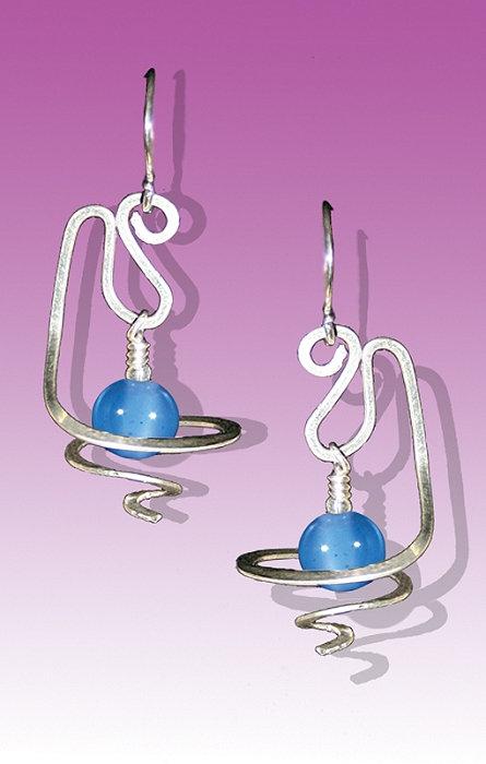 Amethyst Silver Curl Earrings