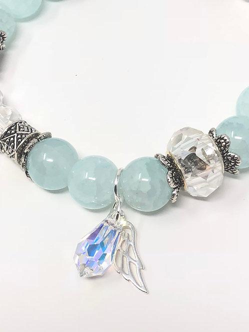 Blue Crackle and Crystal Drop Bracelet