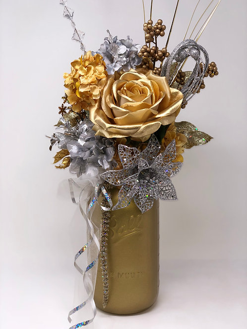 Reversible Silver and Gold Holiday Floral