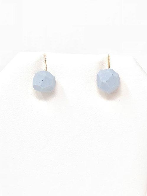 Sky Blue Faceted Porcelain Stud Earrings
