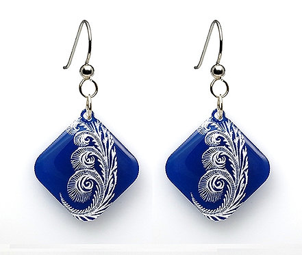 Blue Painted Spiral Earring