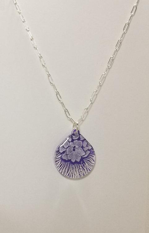 Large Teardrop Flower Necklace - Purple